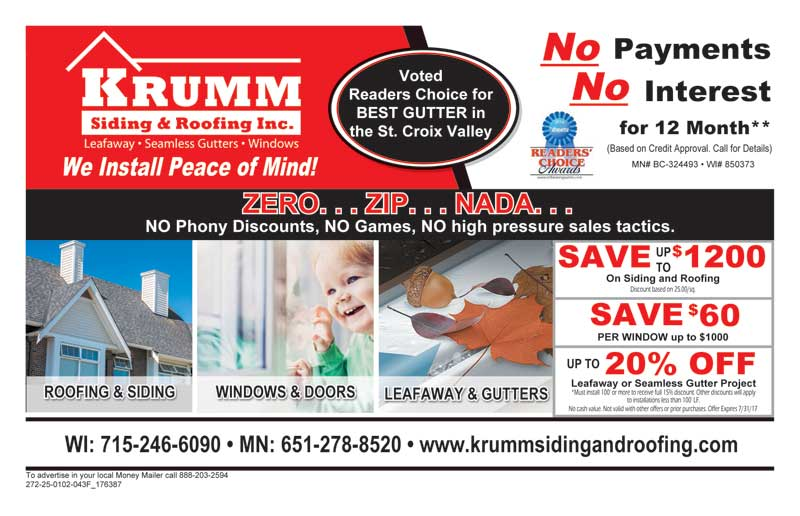 Krumm spring Roofing and Siding Coupon